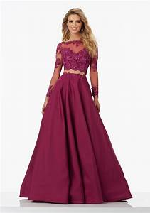 Two-Piece Prom Dress with Long Sleeved Lace on Net Top and A-Line Taffeta Skirt. Delicately ...