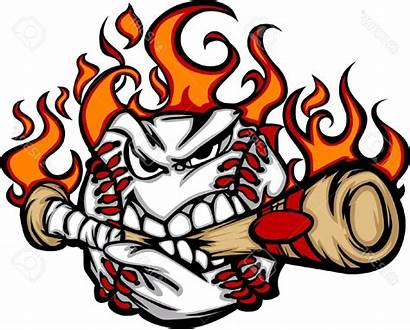 Baseball Bat Fire Clipart Softball Flames Clip