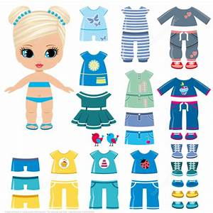 felt dress up doll template - summer clothing and shoes for a little girl paper doll