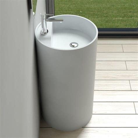 Modern Bathroom Freestanding Sinks by Free Standing Solid Surface Modern Pedestal Sink 18