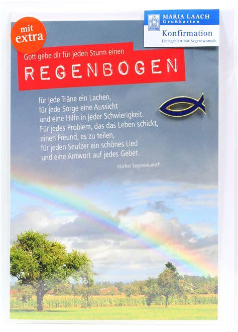 konfirmationkarte regenbogen fisch anstecker