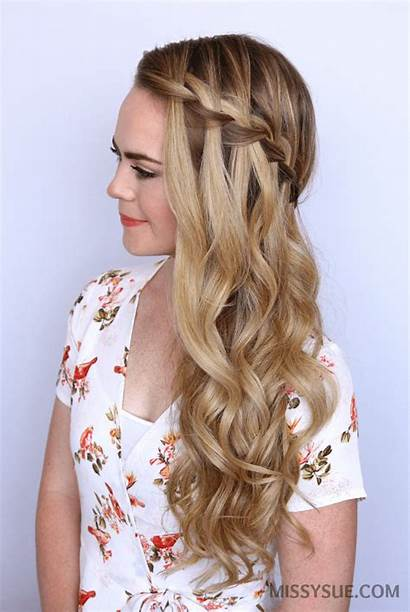Waterfall Braid Hairstyles Braided Party Easy Sideswept