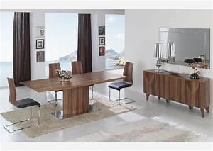 Table En Noyer : acheter votre table couleur noyer pied central et allonge chez simeuble ~ Teatrodelosmanantiales.com Idées de Décoration