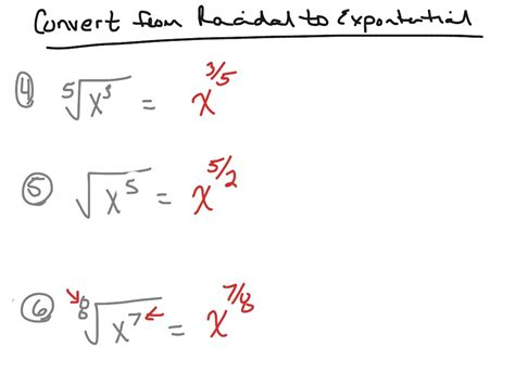 convert  radical form  exponential form math