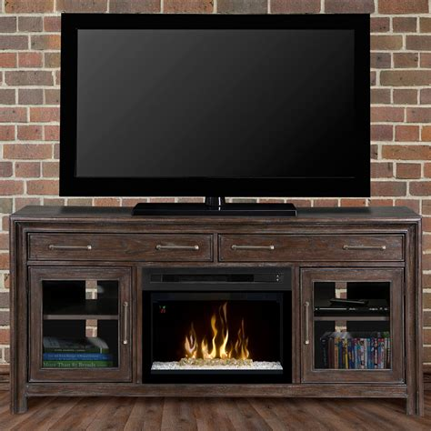 electric fireplace media cabinet woolbrook distressed nutmeg electric fireplace media