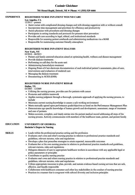 Registered Duties Resume by Registered Inpatient Resume Sles Velvet