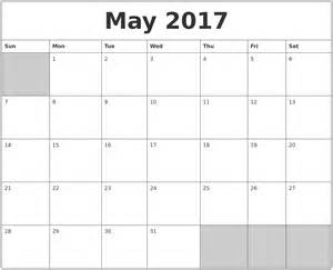 Blank May Monthly Printable Calendars 2017