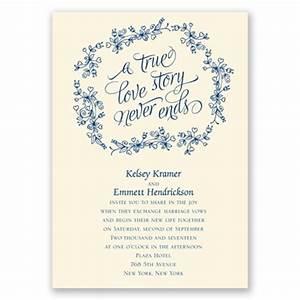 true love story wedding invitation ecru floral wedding With wedding invitation wording love story