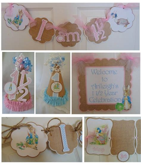 rabbit 1st birthday party package beatrix potter banner hat high chair banner photo