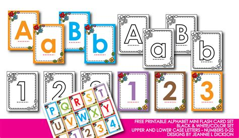 honeybops free printable alphabet mini flash card set black white and color numbers 0 22