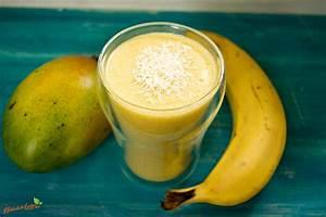 Bananen Mango Kokos Smoothie Natürlich Lecker