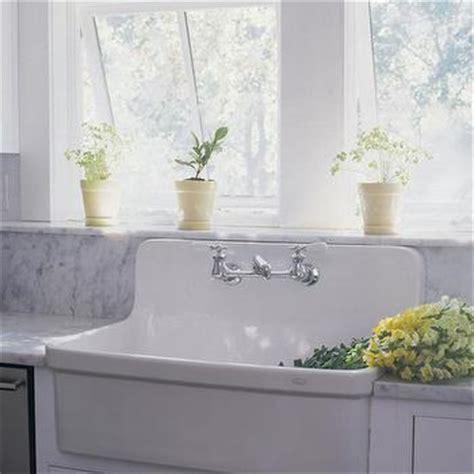 Vintage Sink With Built In Backsplash Design Ideas