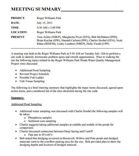 meeting summary templates    sample