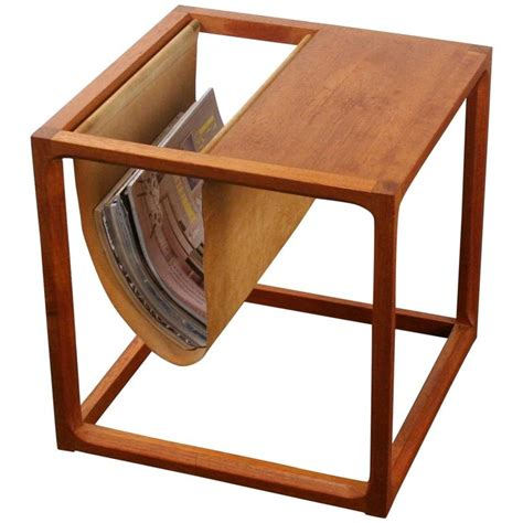 side table with l and magazine rack vintage danish teak side table with magazine rack at 1stdibs
