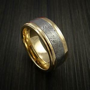 buy a custom gibeon meteorite in 14k yellow gold wedding With wedding rings made from meteorite