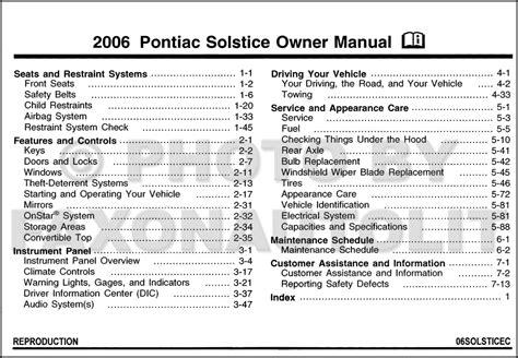 auto repair manual online 2006 pontiac solstice user handbook 2006 pontiac solstice owner s manual