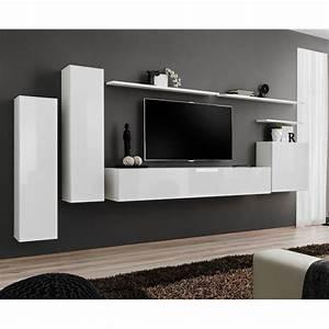 Meuble TV Mural Design QuotSwitch Iquot 330cm Blanc