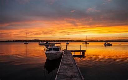 Dock Wallpapers Background Sunset Lake Boats Desktop