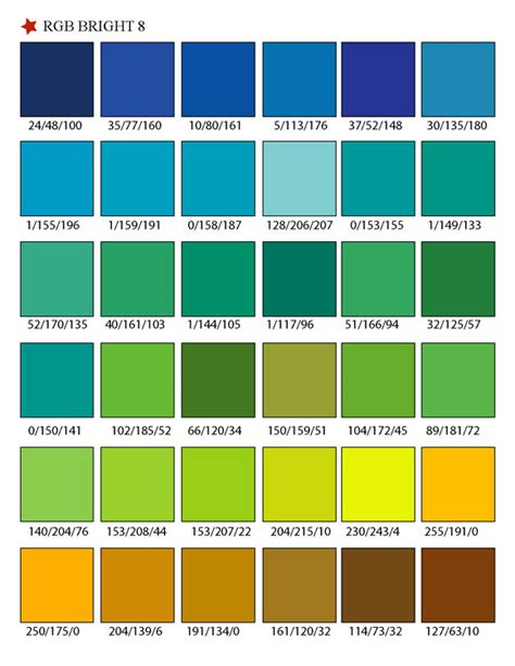 color library printable rgb color palette swatches my practical skills