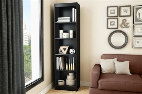 Narrow Black Bookcase by Axess 5 Shelf Narrow Bookcase Black Home