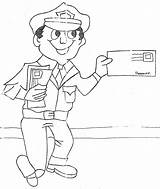 Coloring Carrier Mail Pages Mailman Clipart Office 為孩子�的�色頁 Popular Library Clip sketch template