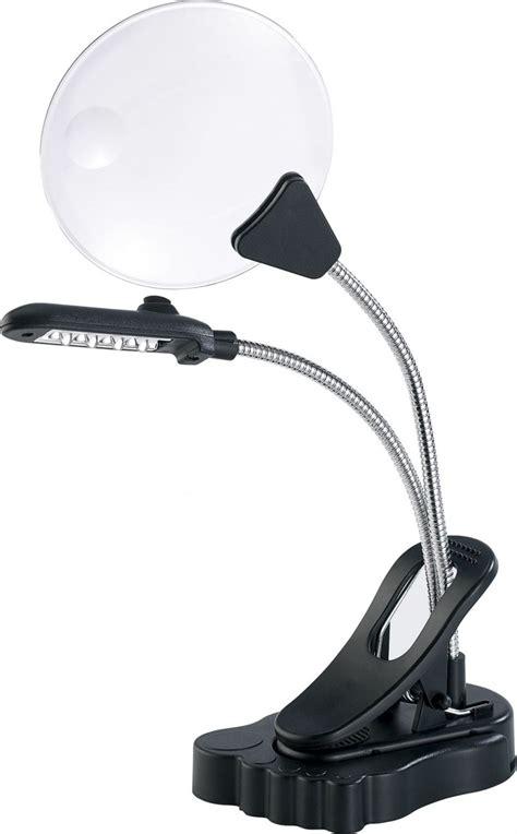 le de bureau avec loupe loupe de bureau avec pince et 4 led lumineuses pearl fr
