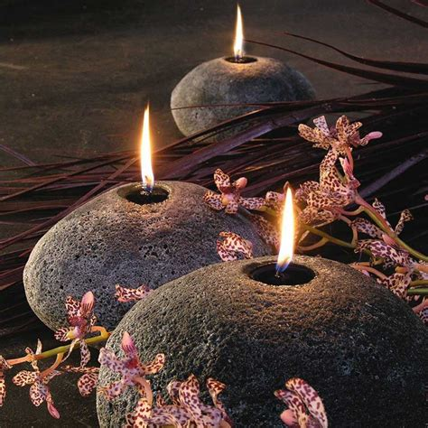 stone boulder candles