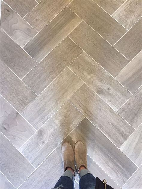 wood tile in a herringbone pattern such a great look