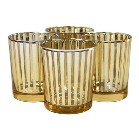 cheap candle holders striped votive candle holders 3 gold 424480