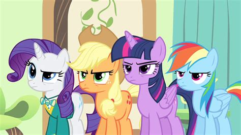 Rarity Applejack Twilight And Rainbow Looking Angry At
