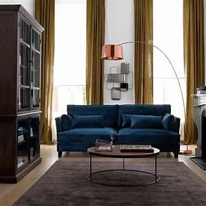 canape sacha velours bleu paon laredoute salon With tapis shaggy avec ampm canape lazare