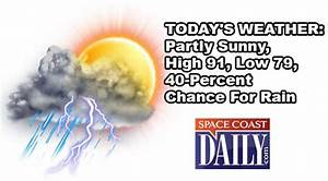 TODAY'S WEATHER: Partly Sunny, High 91, Low 79, 40