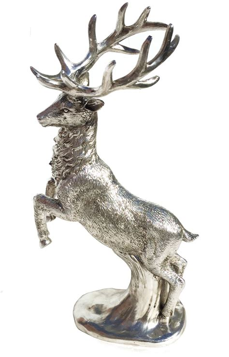 silver reindeer statue silver standing reindeer stag figure statue ornament decoration ebay