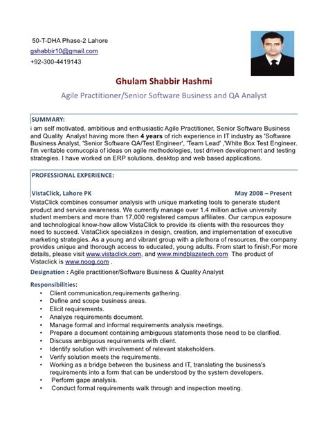 agile practitioner senior software ba and qa analyst