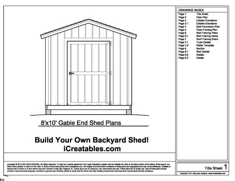 shed plans 8x10 free shed plans how to build a shed with icreatables diy