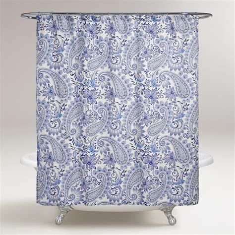 paisley shower curtain blue paisley navodari shower curtain world market