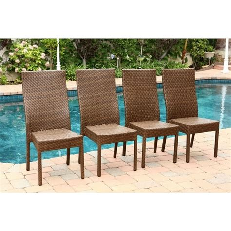 palermo outdoor wicker dining chair in brown set of 4