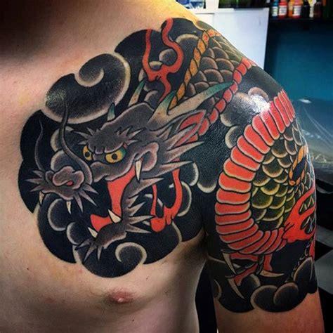 dragon shoulder tattoo designs  men manly ink ideas