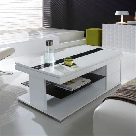 table basse relevable noir et blanc