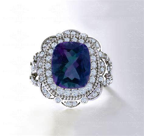 liberty alexandrite  diamond white gold engagement ring