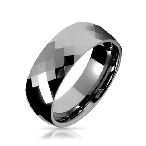 Multi Faceted Tungsten Wedding Band Ring 8mm