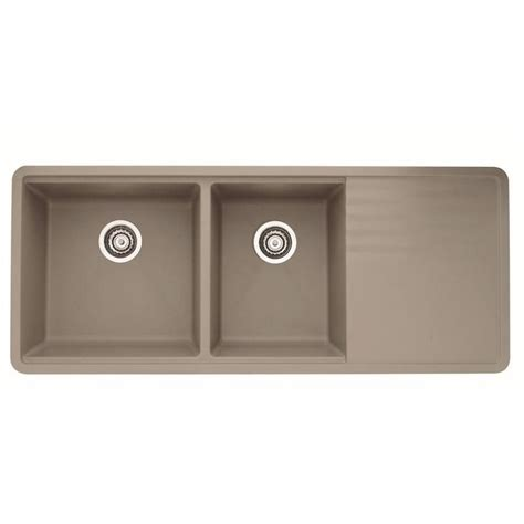 blanco sinks with drainboards shop blanco precis 48 in x 20 in truffle brown