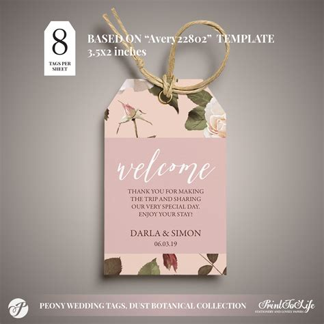 Peony Wedding Favor Tags Set of 4 #Dusty Pink Botanical