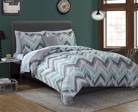bedding for essential home complete bed set chevron gray mint