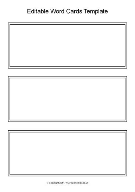 editable black  white word cards template sb