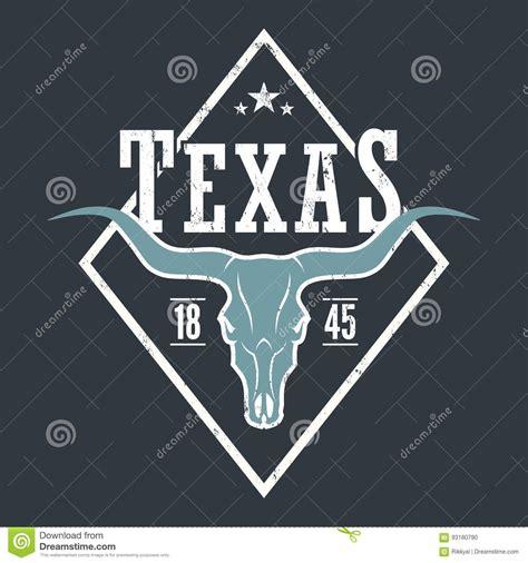 designer graphics tx state print with longhorn skull stock vector
