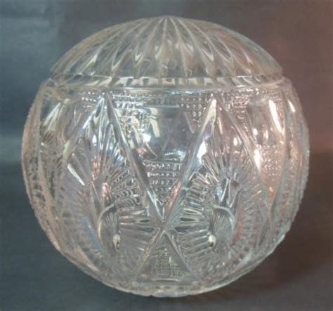 vtg antique cut crystal glass finial newel post ball