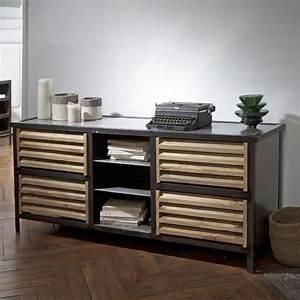 Meuble Tv Buffet : buffet meuble tv en manguier et m tal noir williamsburg ~ Teatrodelosmanantiales.com Idées de Décoration