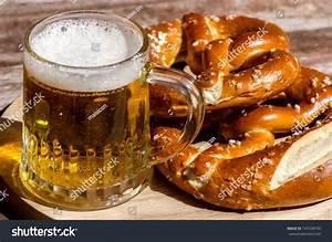 Oktoberfest Beer Mug And Traditional German Pretzels Stock ...
