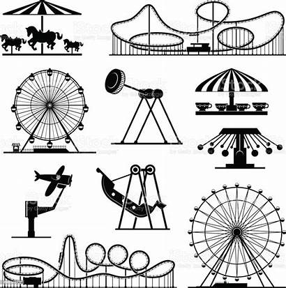 Amusement Park Carnival Vector Attractions Icons Different